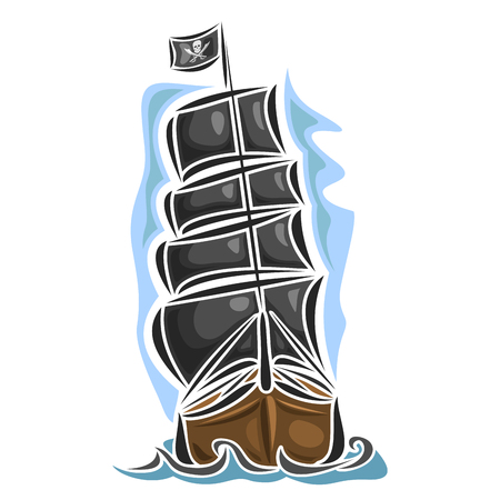 brig: Vector logo pirate sailing ship, sailboat, sailer, vessel, sailing, barque, craft, frigate, caravel, galleon, schooner, floating blue sea, ocean, waves. Cartoon pirate sailing old vessel Jolly Roger