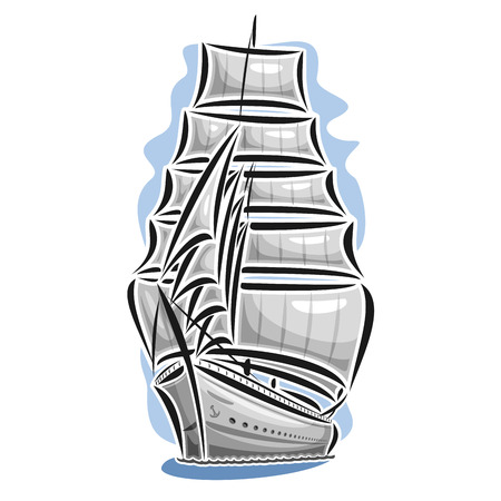 Vector logo sailing ship, barque, sailboat, sailer, vessel, sailing, boat, craft, frigate, schooner, corvette, caravel, galleon, floating blue sea, ocean, waves. Cartoon sailing vessel, sea regatta