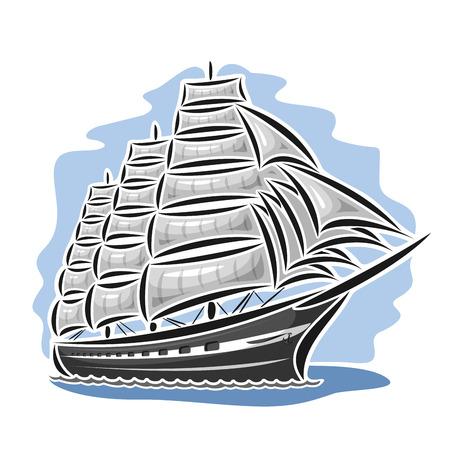 Vector logo sailing ship, barque, sailboat, sailer, vessel, sailing, boat, craft, frigate, schooner, corvette, caravel, galleon, floating blue sea, ocean, waves. Cartoon sailing vessel, sea regatta