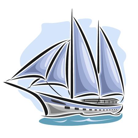 Vector logo sailing yacht, sailboat, sailer, gaff tender, gaff yawl, bermuda ketch, sloop, ship, sailing, boat, floating blue sea, ocean, waves. Cartoon sailing boat, sea regatta, yachting sport Çizim