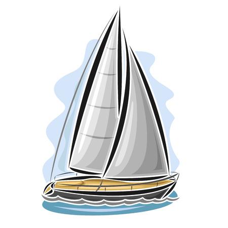 Vector logo sailing yacht, sailboat, sailer, gaff tender, gaff yawl, bermuda ketch, sloop, ship, sailing, boat, floating blue sea, ocean, waves. Cartoon sailing boat, sea regatta, yachting sport Ilustrace