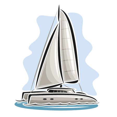 Vector logo sailing catamaran, sailboat, sailer, sloop, ship, sail boat, floating blue sea, ocean, waves. Cartoon sailing catamaran, sea summer regatta, yachting extreme sport race, sea sailing travel Vectores