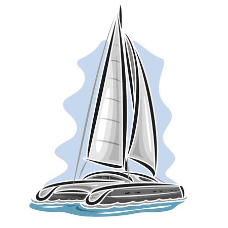 Vector logo sailing catamaran, sailboat, sailer, sloop, ship, sail boat, floating blue sea, ocean, waves. Cartoon sailing catamaran, sea summer regatta, yachting extreme sport race, sea sailing travel Vectores