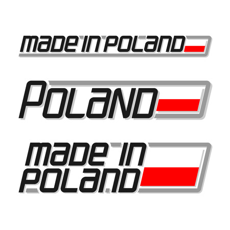 polish flag: Vector illustration of the logo for made in Poland, consisting of three isolated drawings with the polish flag and text on a white background Illustration