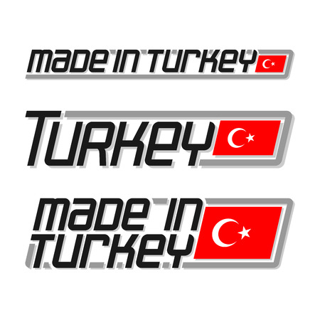 turkish flag: Vector illustration of the logo for made in Turkey, consisting of three isolated drawings with the turkish flag and text on a white background