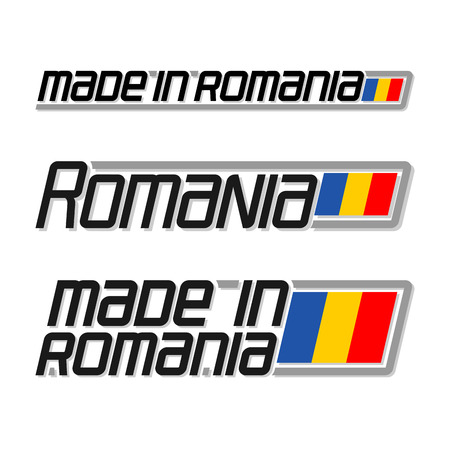 cachet: Vector illustration of the logo for made in Romania, consisting of three isolated drawings with the romanian flag and text on a white background
