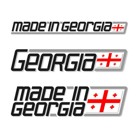 cachet: Vector illustration of the logo for made in Georgia, consisting of three isolated drawings with the georgian flag and text on a white background