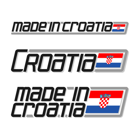 cachet: Vector illustration of the logo for made in Croatia, consisting of three isolated drawings with the croatian flag and text on a white background