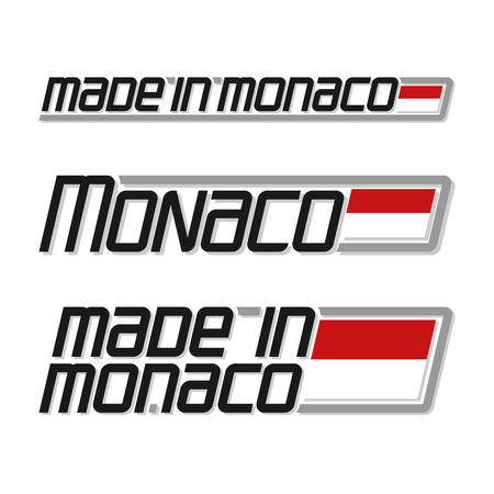 monegasque: Vector illustration of the logo for made in Monaco, consisting of three isolated drawings with the monegasque flag and text on a white background