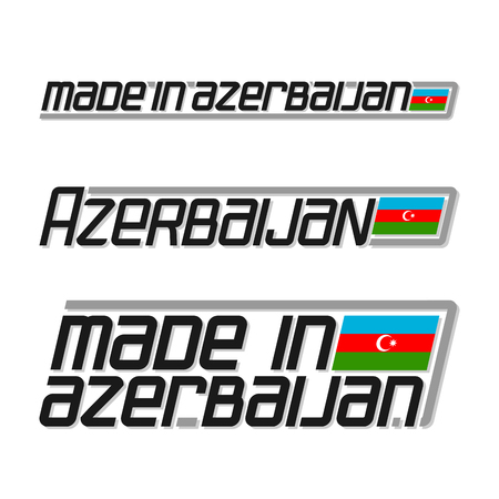 cachet: Vector illustration of the logo for made in Azerbaijan, consisting of three isolated drawings with the azerbaijanian flag and text on a white background