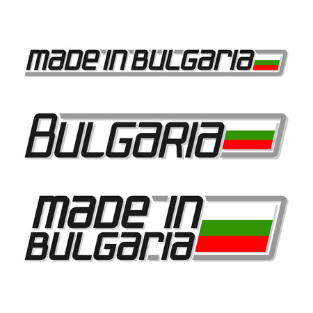 bulgarian: Vector illustration of the for made in Bulgaria, consisting of three isolated drawings with the bulgarian flag and text on a white background Illustration