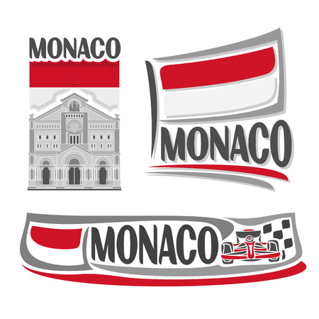 Vector logo for Monaco, 3 isolated illustrations: Saint Nicholas Cathedral in Monte Carlo on background of national state flag, symbol of Monaco and monegasque flag beside racing car formula close-up