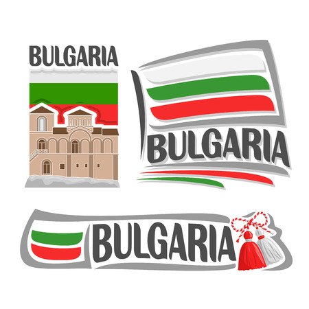Vector logo for Bulgaria, consisting of 3 isolated illustrations: Asenova Fortress on background of national state flag, symbol of Bulgaria and bulgarian flag beside red and white martenitsa close-up