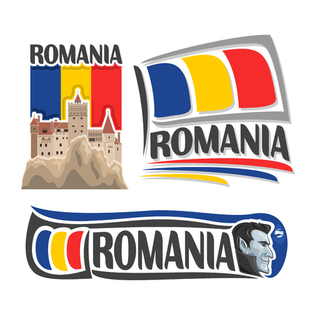 Vector logo for Romania, consisting of 3 isolated illustrations: Bran castle in Transylvania on background of national state flag, symbol of Romania and romanian flag beside vampire Dracula close-up