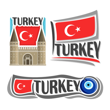 turkish flag: Vector logo for Turkey, consisting of 3 isolated illustrations: Topkapi Palace in Istanbul on background of national state flag, symbol of Turkey and turkish flag beside amulet Nazar boncugu close-up Illustration