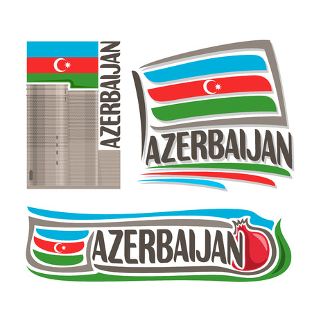azerbaijanian: Vector logo for Azerbaijan, consisting of 3 isolated illustrations: Maiden Tower in Baku on background of national state flag, symbol of Azerbaijan and azerbaijanian flag beside pomegranate close-up Illustration