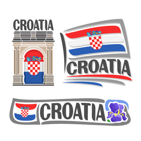 triumphal arch: Vector logo for Croatia, consisting of 3 isolated illustrations: Triumphal Arch of Sergius on background of national state flag, symbol of Croatia and croatian flag beside purple iris flower close-up