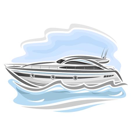 bateau de course: Vector illustration du bateau de vitesse bateau à moteur, constitué de course bateau à moteur, flottant sur l'océan vagues de la mer, du sport automobile chère de luxe longboat gros plan sur fond bleu