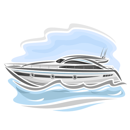 motor boat: Vector illustration of speed boat powerboat, consisting of racing motorboat, floating on the ocean sea waves, luxury expensive sport motor longboat close-up on blue background Illustration