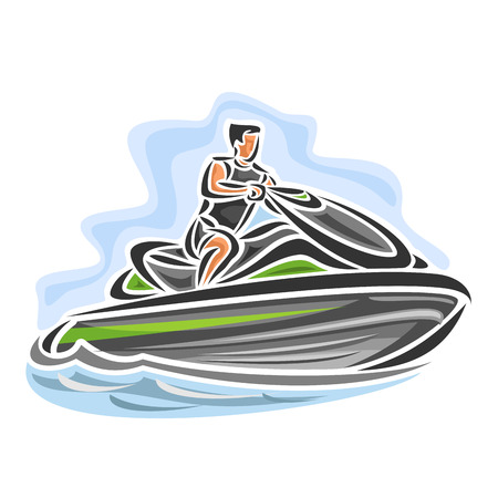 highspeed: Vector illustration of high-speed jet ski, consisting of speed power water motorcycle bike, floating on the ocean sea waves, sport racing jet ski close-up on blue background