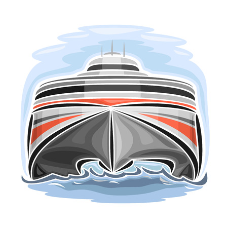 ferry: Vector illustration of high-speed car ferry catamaran, consisting of velocity passenger express ship, floating on the ocean sea waves close-up on blue background