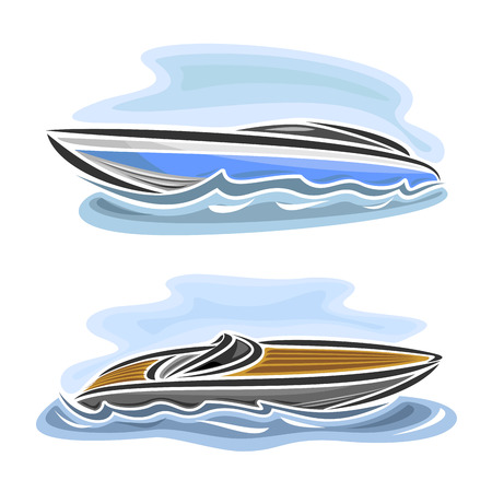 Vector illustration of speed boat powerboat, consisting of 2 racing motorboat, floating on the ocean sea waves, luxury expensive sport motor longboat close-up on blue background