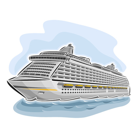caribbean cruise: Vector illustration of cruise liner ship, consisting of floating on the ocean sea waves luxury passenger full-service resort vessel close-up on blue background