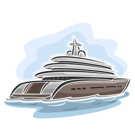luxury yacht: Vector illustration of large mega yacht, consisting of luxury cartoon cruise liner ship, floating on the ocean sea waves close-up on blue background