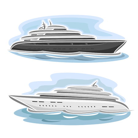 Vector illustration of large mega yacht, consisting of luxury cartoon cruise liner ship, floating on the ocean sea waves close-up on blue background