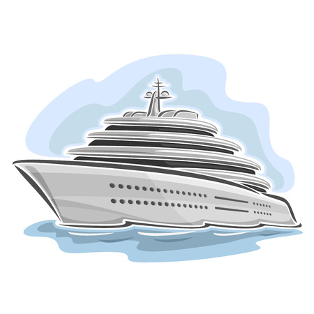 cruise liner: Vector illustration of large mega yacht, consisting of luxury cartoon cruise liner ship, floating on the ocean sea waves close-up on blue background