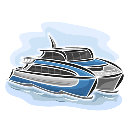 Vector illustration of high-speed ferry catamaran, consisting of velocity passenger express ship, floating on the ocean sea waves close-up on blue background