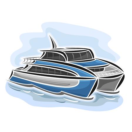 Vector illustratie van de high-speed ferry catamaran, bestaande uit snelheid passagier uitdrukkelijke schip, drijvend op de oceaan zee golven close-up op een blauwe achtergrond Vector Illustratie