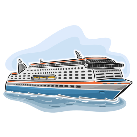 ferryboat: Vector illustration of cruise ferry, consisting of passenger cars nautical express ferryboat ship, floating on the ocean sea waves close-up on blue background