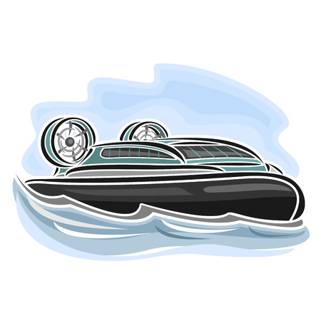 airscrew: Vector illustration of hovercraft on air-cushion, consisting of speed cartoon hover cushioncraft with propeller, floating on the ocean sea waves close-up on blue background