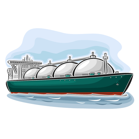 Vector illustration of LNG liquefied natural gas carrier ship, consisting of cryogenic super tanker, vessel with nautical storage tank for propane methane gas close-up on blue background