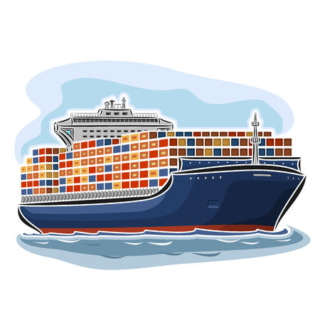 Vector illustration of container ship carrier carry goods, consisting of dry cargo ocean merchant vessel container load, floating on the sea waves close-up on blue background