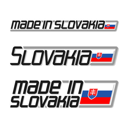 printing logo: Vector illustration of the logo for made in Slovakia, consisting of three isolated drawings with the slovak flag and text on a white background