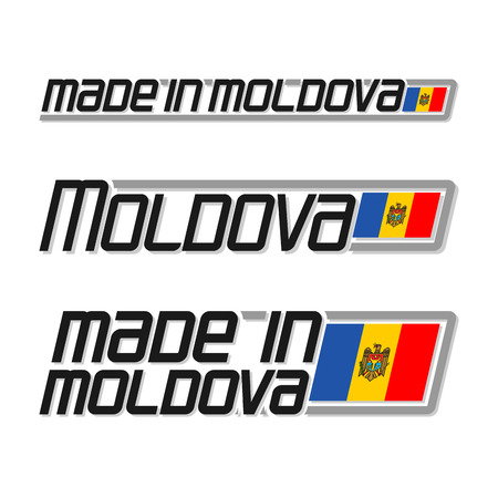 moldovan: Vector illustration of the logo for made in Moldova, consisting of three isolated drawings with the moldavian flag and text on a white background