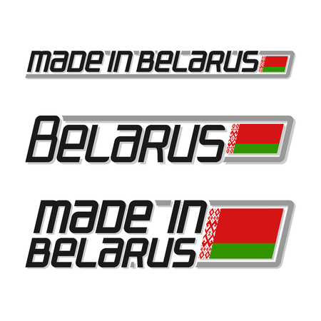cachet: Vector illustration of the logo for made in Belarus, consisting of three isolated drawings with the belarusian flag and text on a white background
