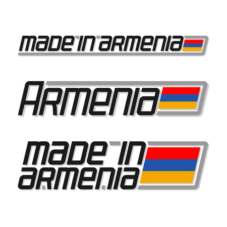 armenian: Vector illustration of the logo for made in Armenia, consisting of three isolated drawings with the armenian flag and text on a white background Illustration
