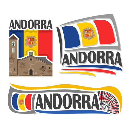 mart: Vector logo for Andorra, 3 isolated illustrations: Sant Marti de la Cortinada on background of national state flag, symbol of Principality of Andorra and andorran flag beside hand fan close-up
