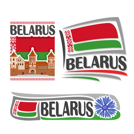 consisting: Vector logo for Belarus, consisting of 3 isolated illustrations: Nesvizh Castle on background of national state flag, symbol of Republic Belarus and belarusian flag beside blue cornflower close-up