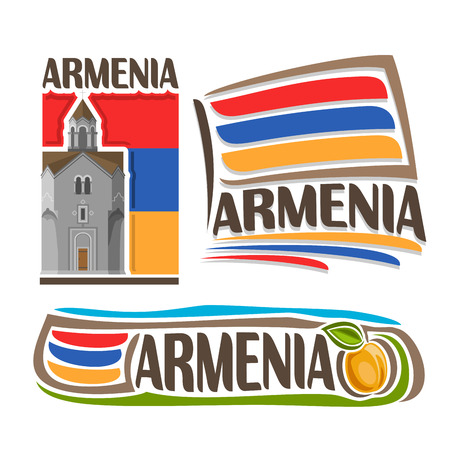 monastery: Vector logo for Armenia, 3 isolated illustrations: Haghpat Monastery on background of national state flag, symbol of Republic Armenia and armenian flag beside apricot with green leaf close-up Illustration
