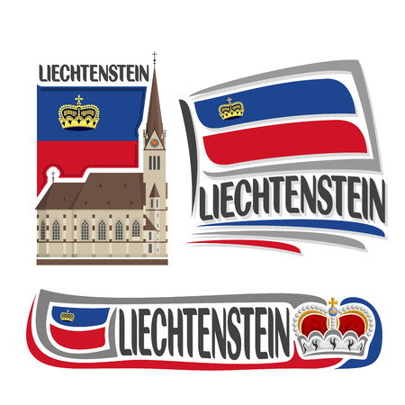 florin: Vector logo Liechtenstein, 3 isolated illustrations: Cathedral of St. Florin in Vaduz on background of national state flag, symbol and flag Principality of Liechtenstein beside princely crown close-up Illustration