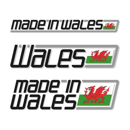 """bandera reino unido: Ilustraci�n del vector de la insignia de """"hecho en Gales"""", que consta de tres dibujos aislados con la bandera gal�s y el texto sobre un fondo blanco"""