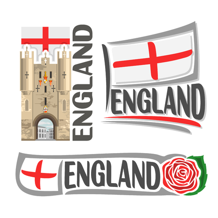 british culture: Vector logo for England, 3 isolated illustrations: Monkgate Monk Bar of York City Walls on background of national state flag, symbol of England and english flag beside red rose green leaf close-up Illustration