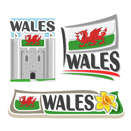 consisting: Vector logo for Wales, consisting of 3 isolated illustrations: Caerphilly castle east gatehouse on background of national state flag, symbol of Wales and welsh flag beside yellow daffodil close-up