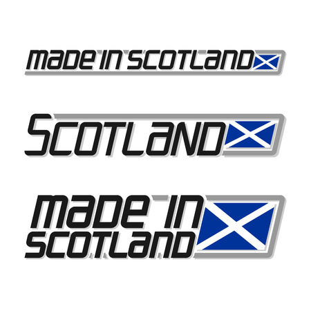 cachet: Vector illustration of the logo for made in Scotland, consisting of three isolated drawings with the scottish flag and text on a white background Illustration
