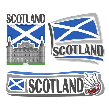 scotland: Vector logo for Scotland, 3 isolated illustrations: Inveraray Castle in Argyll on background of national state flag, symbol of Scotland and scottish flag beside bagpipes stewart tartan close-up
