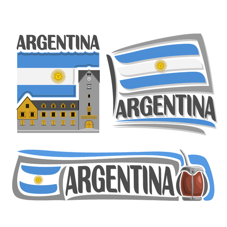 Argentina illustrations: Bariloche on background of national state flag